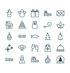 Holiday icons set collection of present pouch vector