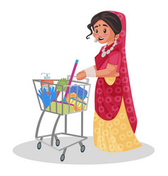 indian rajasthani woman cartoon vector image