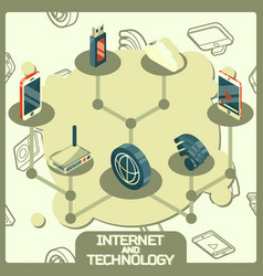 internet and technology concept icons vector image