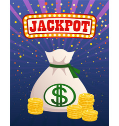 jackpot illuminated sign money bag and gold coins vector image