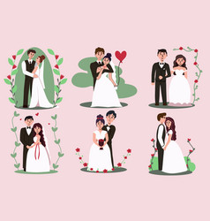 Just married newlywed bride and groom portrait set vector