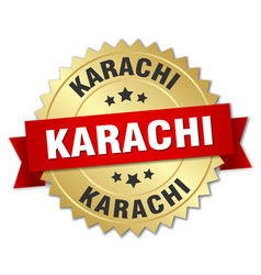 Karachi round golden badge with red ribbon vector