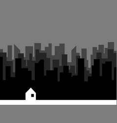 Lot of buildings silhouettes and small house vector