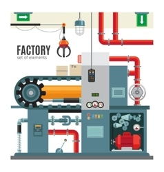 Manufacturing conveyor in flat style vector