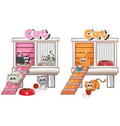Many cats in cat cage vector