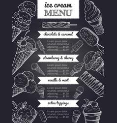 menu ice cream hand drawing vector image