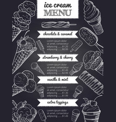 Menu of ice cream hand drawing vector