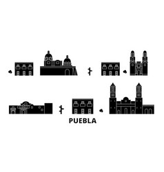 Mexico puebla flat travel skyline set mexico vector