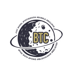 Moon bitcoin emblem with funny hashtags in orbit vector
