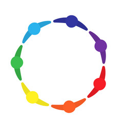 motivated group of people logo circle of a vector image