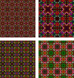 Multicolor seamless abstract mosaic pattern set vector