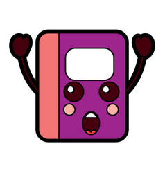 Notebook excited school supplies kawaii icon imag vector