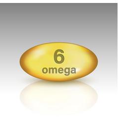 Omega 6 vitamin drop pill vector