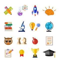 Online Education Flat Icon Set vector image