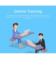 Online Training Banner Design Concept vector image