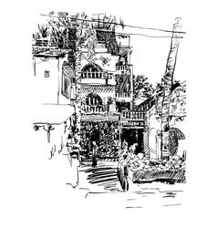 Original drawing india goa calangute baga vector