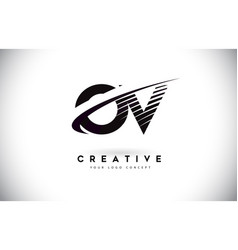 Ov o v letter logo design with swoosh and black vector