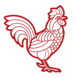 patterned rooster vector image