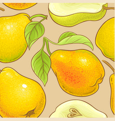 pear fruits pattern on color background vector image