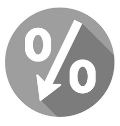 percent decrease icon of set material design vector image