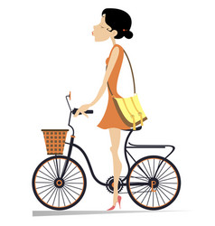 pretty young woman rides the bicycle vector image