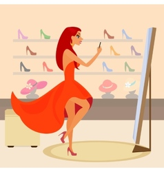 Redhair woman is taking a snapshot for social vector image