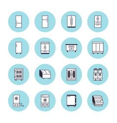 refrigerators flat line icons fridge types vector image