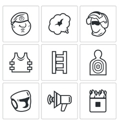 Russian special forces icons set vector image