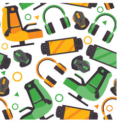 seamless pattern with video game accessories like vector image