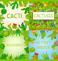 set 4 square banner templates with cactuses and vector image