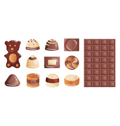Set colorful chocolate desserts and candies vector