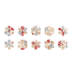 Set cute snowflakes design elements for new vector