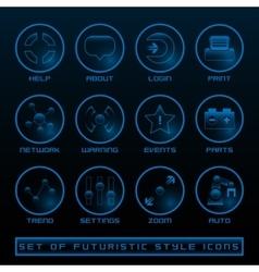 set futuristic user interface icons vector image