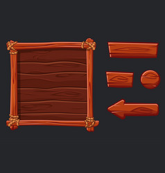 Set red wood assets interface and buttons for ui vector