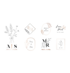 set wedding monogram with flowers and branches vector image