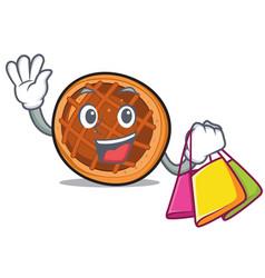 Shopping baket pie character cartoon vector