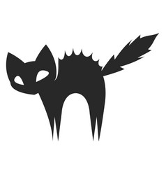 silhouette a scared black cat or color vector image