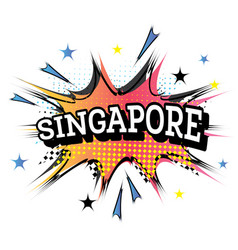Singapore comic text in pop art style vector