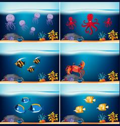 Six underwater scenes with different sea animals vector