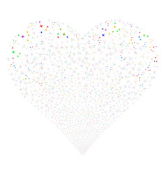 space stars fireworks heart vector image