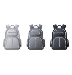 Sport backpack mockup realistic black gray vector