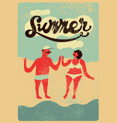 summer grunge vintage poster with cartoon couple vector image