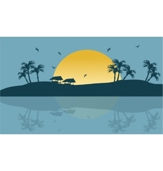 Summer holiday backgrounds scenery silhouette vector