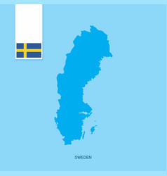 Sweden country map with flag over blue background vector