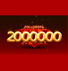 Thank you followers peoples 2000k online social vector