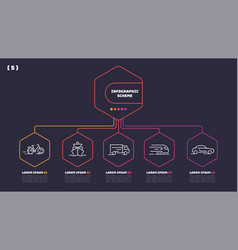 thin line infographic scheme with 5 options vector image