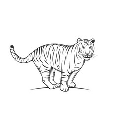 tiger silhouette isolated on white background vector image