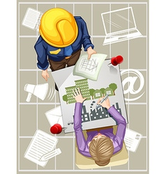 Two people working on designing buildings vector