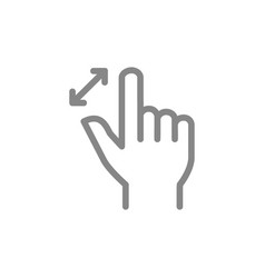 Unpinch with two fingers line icon multi touch vector
