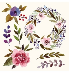 watercolor floral elements vector image